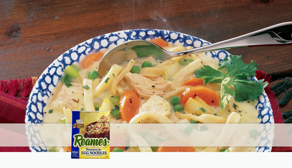 Made with Reames Homestyle Egg Noodles
