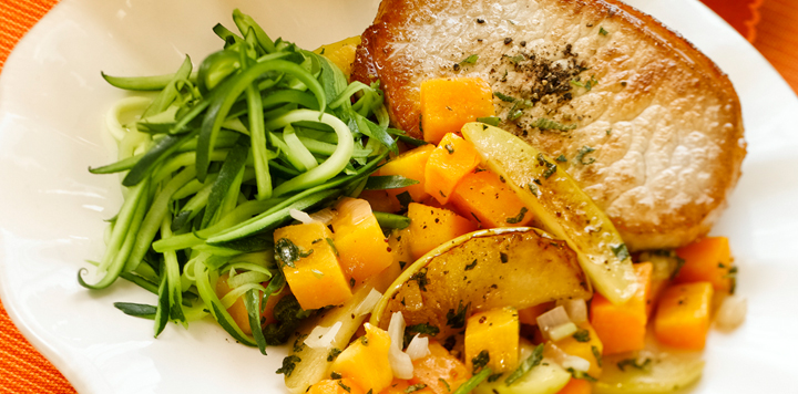 Butternut Squash and Apples With Pan Seared Pork Chop Recipe