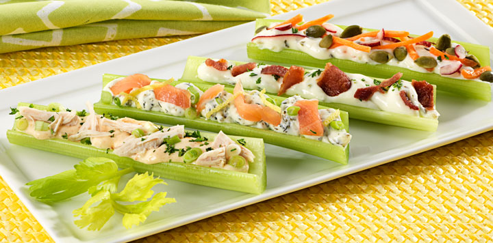 Celery Bites with Assorted Fillings Recipe