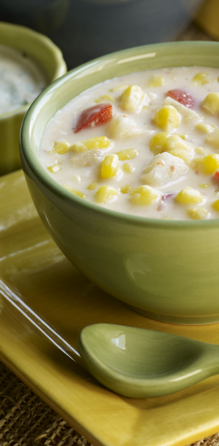 Creamy Corn Chowder With Cilantro Cream Recipe
