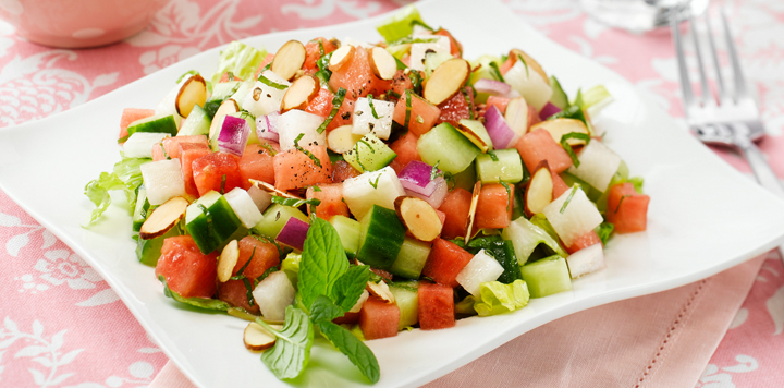 Watermelon Salad with Cucumber and Feta - Recipe Runner